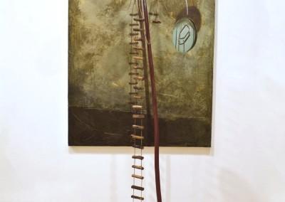 cirque mirò 2011 tecnica mista e pigmenti puru su legno e tela 186x80x70
