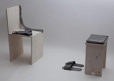 daniela novello_somma dei piccoli spazi, piombo e legno, 2013