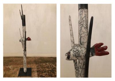 Barbara Aloisio, Alloro, dalla serie Alberi - Terra semirefrattaria Naked raku, 2019, 20x20x102cm