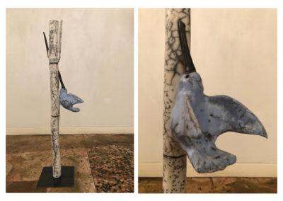 Barbara Aloisio, Cotogno, dalla serie Alberi - Terra semirefrattaria Naked raku, 2019, 20x20x86