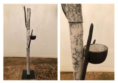 Barbara Aloisio, Tiglio, dalla serie Alberi - Terra semirefrattaria Naked raku, 2019, 20x20x98cm